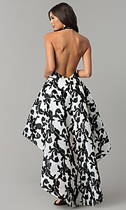 Image of ivory and black halter high-low homecoming dress. Style: LT-LD6720H Back Image