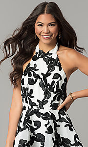 Image of ivory and black halter high-low homecoming dress. Style: LT-LD6720H Detail Image 1