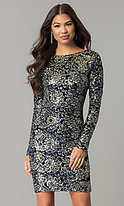 Image of sleeved short velvet holiday dress with sequin print. Style: LT-LD6836Z Front Image