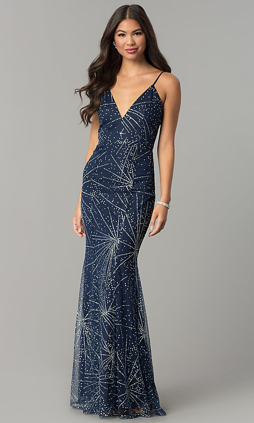 1aa1fe34 V-Neck Long Navy Blue Prom Dress with Adjustable