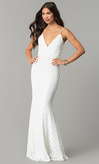 White sequin evening dress.