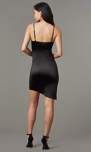 Image of faux-wrap short black party dress with tulip skirt. Style: LUX-LD4330 Back Image