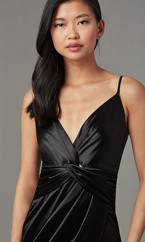 Image of faux-wrap short black party dress with tulip skirt. Style: LUX-LD4330 Detail Image 1