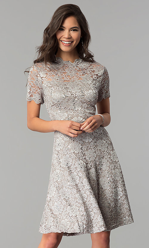 Short-Sleeve High-Neck Knee-Length Wedding Guest Dress