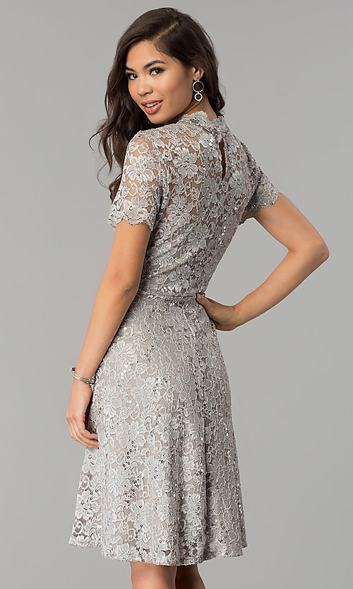 Image of a-line high-neck lace wedding-guest dress by Onyx. Style: JU-ON-649781 Back Image