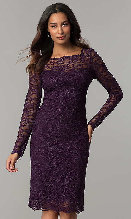 Long Sleeved Eggplant Glitter Lace Wedding Guest Dress