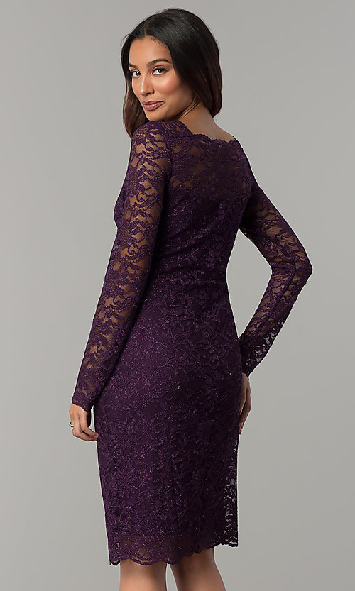 Long-Sleeved Eggplant Glitter-Lace Wedding-Guest Dress