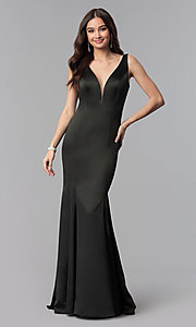 Image of open-v-back long formal dress with train. Style: SSD-AB4141 Detail Image 2