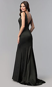 Image of open-v-back long formal dress with train. Style: SSD-AB4141 Detail Image 3