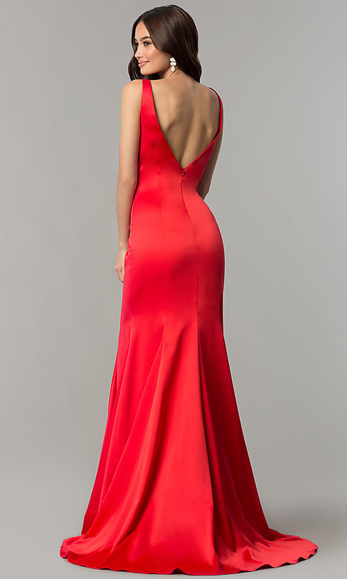 Image of open-v-back long formal dress with train. Style: SSD-AB4141 Back Image