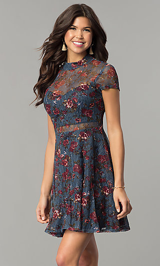 Black lace dress with white underlay