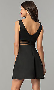 Image of illusion cut-out short black wedding-guest dress. Style: MY-4941SX1C Back Image