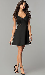 Image of illusion cut-out short black wedding-guest dress. Style: MY-4941SX1C Detail Image 1