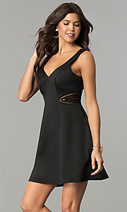 Image of illusion cut-out short black wedding-guest dress. Style: MY-4941SX1C Detail Image 2