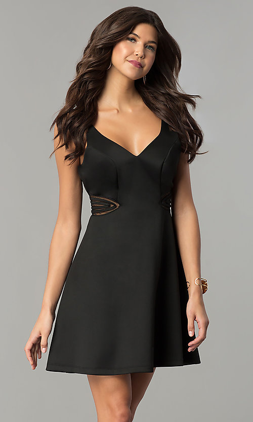 Image of illusion cut-out short black wedding-guest dress. Style: MY-4941SX1C Front Image