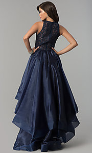 Image of high-low lace-bodice navy blue prom dress. Style: MF-E2350 Back Image