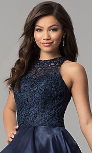 Image of high-low lace-bodice navy blue prom dress. Style: MF-E2350 Detail Image 1