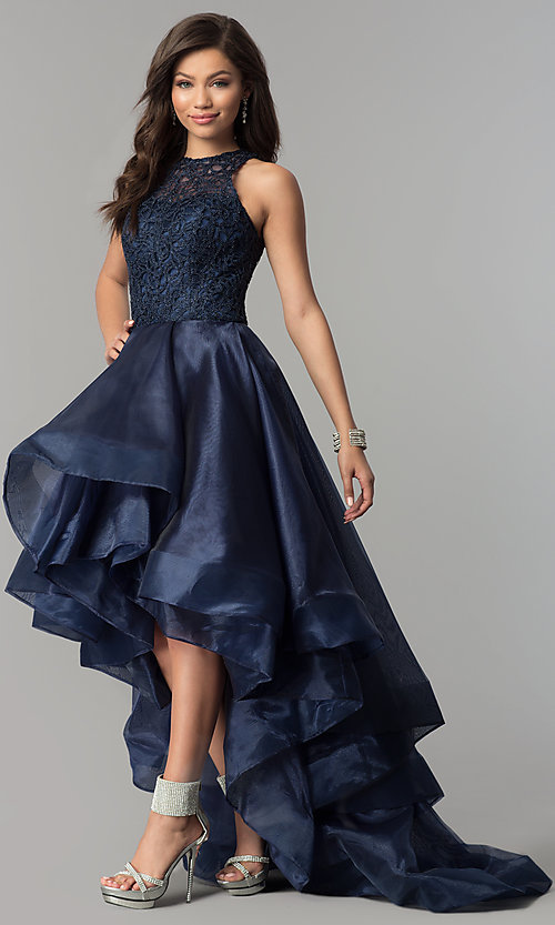 Image of high-low lace-bodice navy blue prom dress. Style: MF-E2350 Front Image