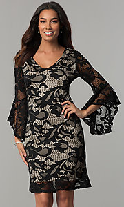 Image of angel-sleeved short black lace wedding-guest dress. Style: JU-TI-T0333 Front Image