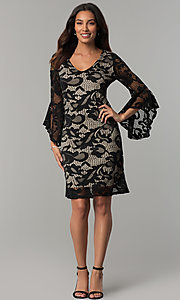 Image of angel-sleeved short black lace wedding-guest dress. Style: JU-TI-T0333 Detail Image 2