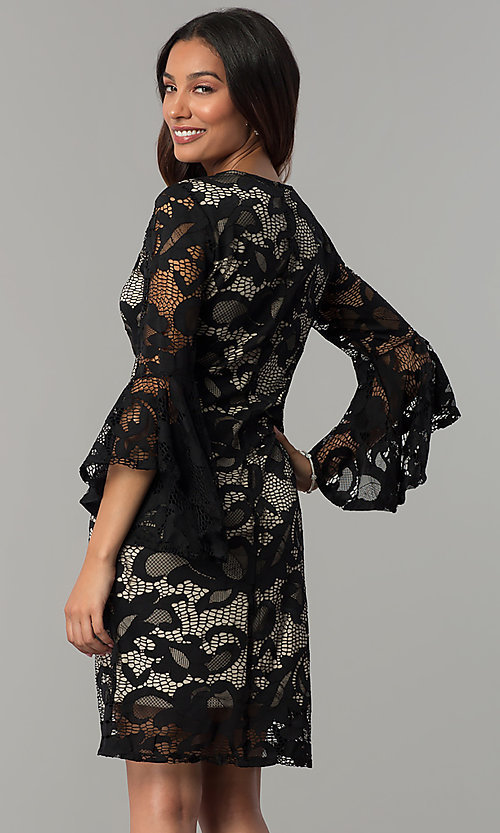 Image of angel-sleeved short black lace wedding-guest dress. Style: JU-TI-T0333 Back Image
