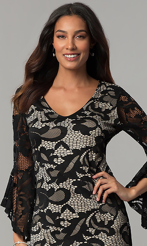Image of angel-sleeved short black lace wedding-guest dress. Style: JU-TI-T0333 Detail Image 1