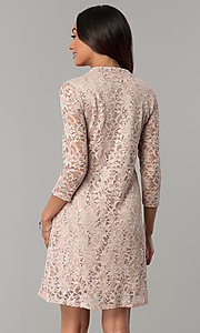 Image of Tiana B sequined-lace short holiday party dress. Style: JU-TI-98045 Back Image