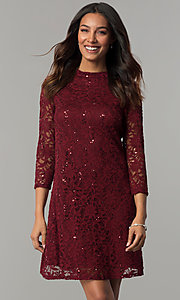 Image of Tiana B sequined-lace short holiday party dress. Style: JU-TI-98045 Front Image