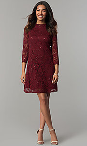 Image of Tiana B sequined-lace short holiday party dress. Style: JU-TI-98045 Detail Image 1