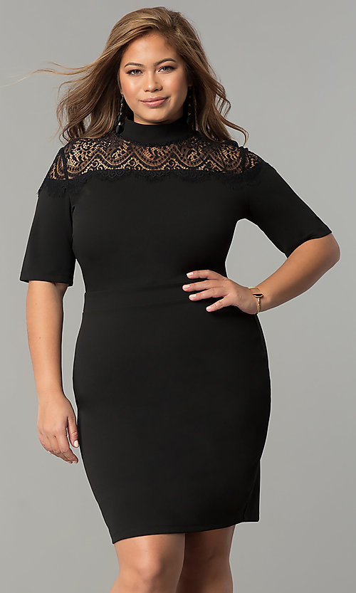 Sleeved Plus-Size Short Party Dress with High Neckline