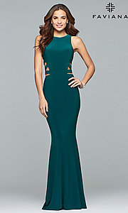 Image of Faviana long formal prom dress with cut outs. Style: FA-8018 Detail Image 2