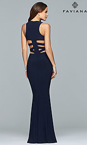 Image of Faviana long formal prom dress with cut outs. Style: FA-8018 Back Image