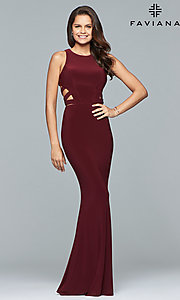 Image of Faviana long formal prom dress with cut outs. Style: FA-8018 Detail Image 1