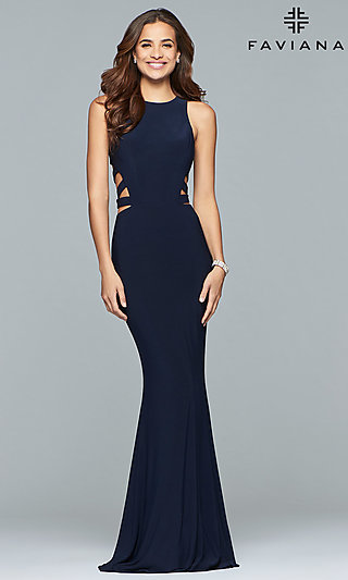 Faviana Long Formal Prom Dress with Cut Outs