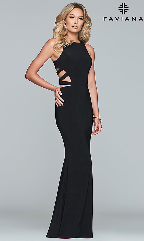 Image of Faviana long formal prom dress with cut outs. Style: FA-8018 Detail Image 5
