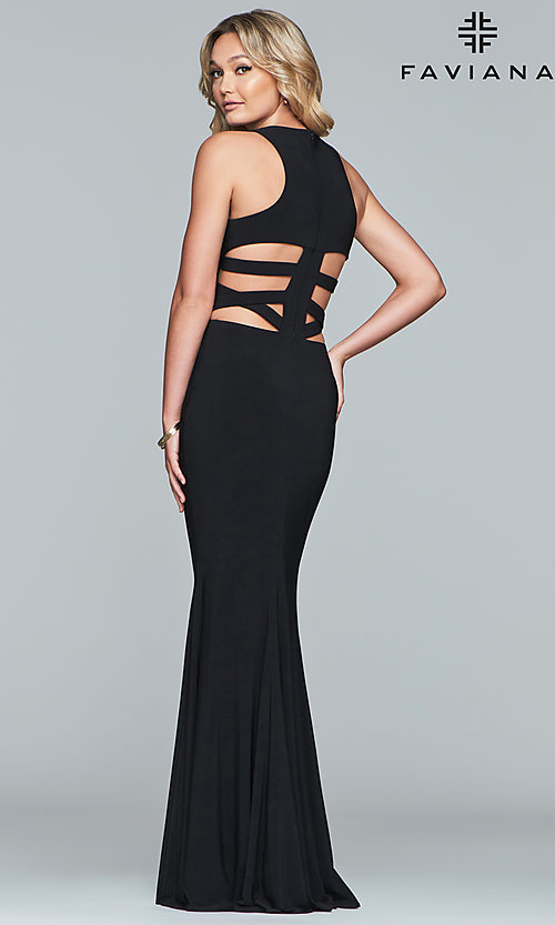 Image of Faviana long formal prom dress with cut outs. Style: FA-8018 Detail Image 4