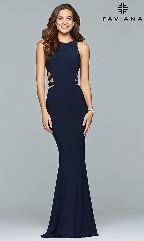 Image of Faviana long formal prom dress with cut outs. Style: FA-8018 Front Image