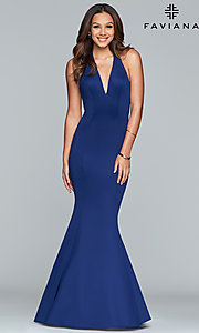 Image of long v-neck halter mermaid prom dress by Faviana. Style: FA-10105 Detail Image 3
