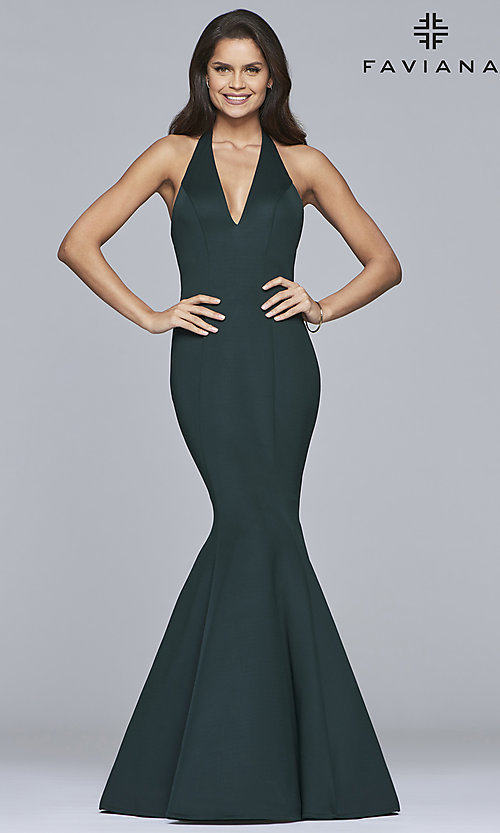 Image of long v-neck halter mermaid prom dress by Faviana. Style: FA-10105 Detail Image 2