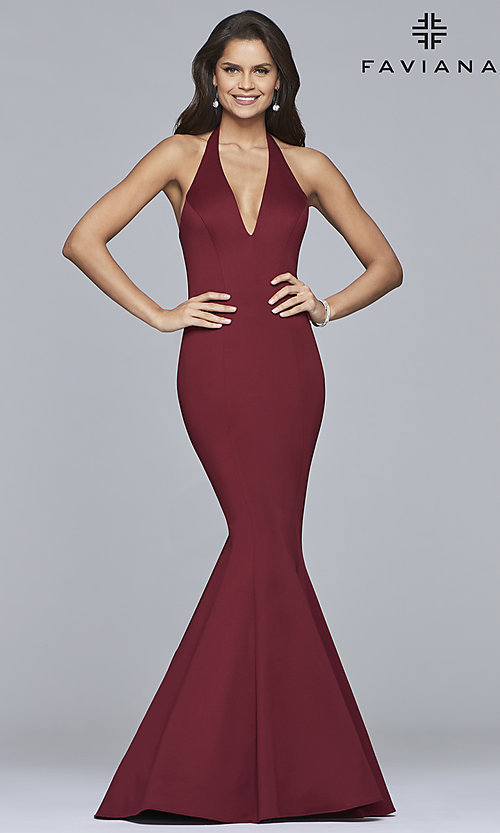 2341bd38b842 Image of long v-neck halter mermaid prom dress by Faviana. Style: FA
