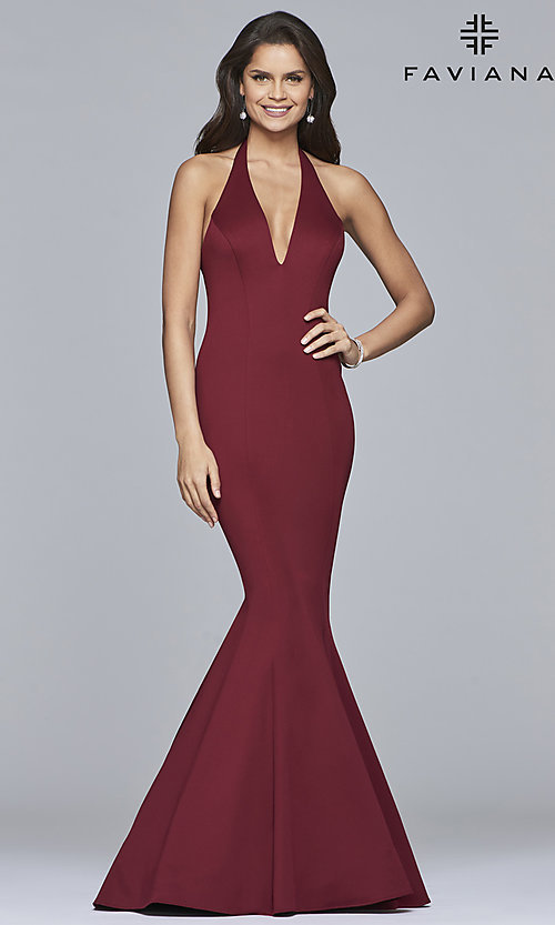 Image of long v-neck halter mermaid prom dress by Faviana. Style: FA-10105 Detail Image 1
