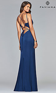 Image of open-back v-neck long formal prom dress by Faviana. Style: FA-S10012 Front Image