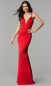 Image of open-back v-neck long formal prom dress by Faviana. Style: FA-S10012 Detail Image 1