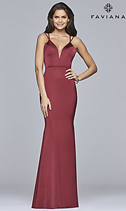 Image of open-back v-neck long formal prom dress by Faviana. Style: FA-S10012 Detail Image 4