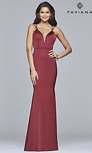 Image of open-back v-neck long formal prom dress by Faviana. Style: FA-S10012 Detail Image 5