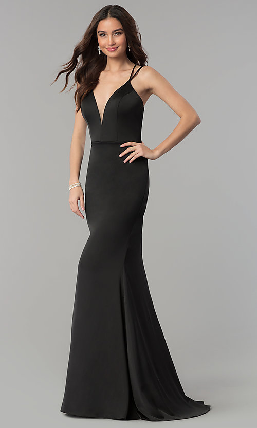 Image of open-back v-neck long formal prom dress by Faviana. Style: FA-S10012 Detail Image 2