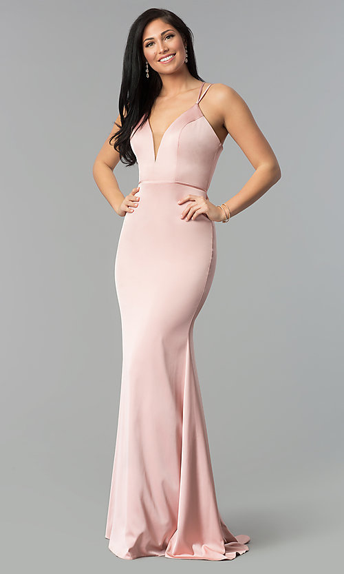 Image of open-back v-neck long formal prom dress by Faviana. Style: FA-S10012 Detail Image 3