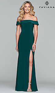 Image of off-the-shoulder long formal prom dress by Faviana. Style: FA-S10015 Detail Image 4