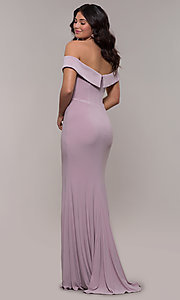 Image of off-the-shoulder long formal prom dress by Faviana. Style: FA-S10015 Detail Image 6