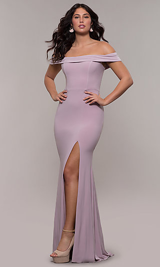 Off-the-Shoulder Long Formal Prom Dress by Faviana